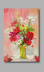 "Stretched (Ready to hang) Hand-Painted Oil Painting 36""x24"" Canvas Wall Art Modern Abstract Pink Red Roses"