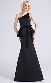 Lanting Bride Floor-length Satin Bridesmaid Dress Trumpet / Mermaid One Shoulder with Bow(s)