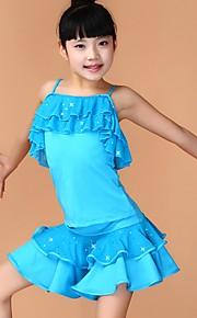 Latin Dance Dresses Children's Performance Chinlon Sequins 2 Pieces Black / Blue / Fuchsia / Red