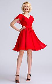 Lanting Bride Knee-length Chiffon Bridesmaid Dress A-line V-neck with Side Draping