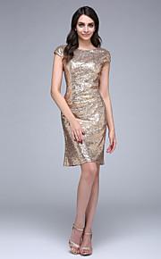 2017 ts couture® prom cocktailparty klänning slida / kolumn Bateau knälång sequined med paljetter