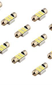 youoklight® 10stk guirlande 31mm 3w 240lm 6 x SMD 5630 førte hvidt lys afkodning bil læselampe kuppel pære (12V)