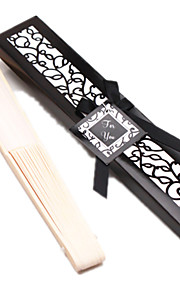 1Piece/Set, Bachelorette Silk Hand Fan in Black Laser Cut Giftbox, Ladies Night Out Essentials