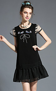 Women's Vintage Fashion Embroidery Bead Patchwork Pleat Plus Size Short Sleeve Party Casual Dress