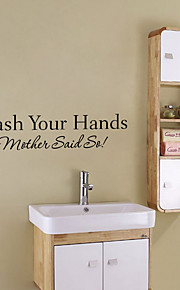 Fashion Bathroom Wash Your Hand English Words Wall Stickers DIY Waterproof Bathroom Stickers