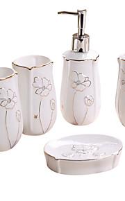flor de oro patrón de baño de cinco piezas caja de juego +