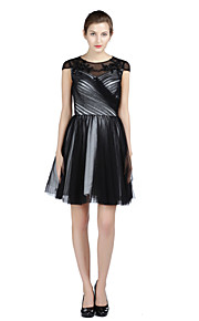 Cocktail Party Dress A-line Jewel Knee-length Satin / Tulle with Beading / Criss Cross