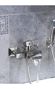vandfald badeværelse hane badekar badekar brus med håndholdt bruser sæt enkelt håndtag håndtag børstet nikkel