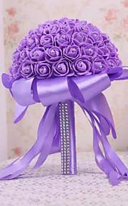 PE Foam Rose Flower Round Shape with Crystal Rhineston Decoration Bouquets for Bride Wedding