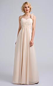 Lanting Bride Floor-length Chiffon Bridesmaid Dress Sheath / Column Spaghetti Straps with Flower(s)/Criss Cross
