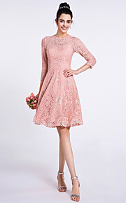 Lanting Bride Knee-length Lace Bridesmaid Dress A-line Jewel with Lace
