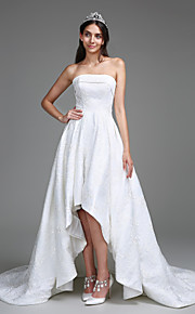 Lanting Bride A-line Wedding Dress Court Train Strapless Lace with Lace