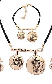 Европейский стиль мода простой металл нерегулярные любителей формы ожерелье браслет серьги набор