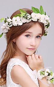 Flower Girl's Foam Headpiece-Wedding / Special Occasion Flowers 2 Pieces(1 Headpiece and 1 Wrist)