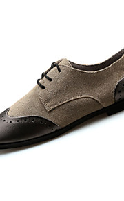 Women's Shoes Cowhide Spring / Fall Round Toe Oxfords Casual Flat Heel Others / Lace-up Black / Gray / Khaki