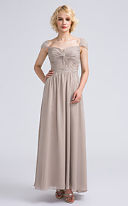 Lanting Bride Ankle-length Chiffon Bridesmaid Dress Sheath / Column Sweetheart with Beading / Criss Cross