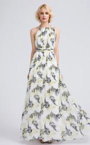 Lanting Bride Floor-length Chiffon Bridesmaid Dress A-line Jewel with Pattern / Print