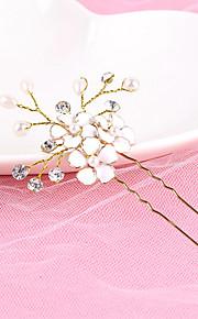 Femme Strass / Laiton / Alliage / Imitation de perle Casque-Mariage Epingle à Cheveux 1 Pièce Blanc Rond 19