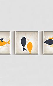 מצויר ביד מופשט / בעלי חיים / סרט מצויר ציורי שמן,מודרני שלושה פנלים בד ציור שמן צבוע-Hang For קישוט הבית