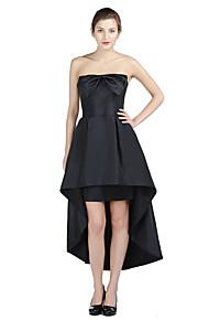 Formal Evening Dress - Little Black Dress A-line Strapless Asymmetrical Taffeta with Bow(s)