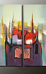 Maalattu Abstraktit maisemakuvat Moderni,2 paneeli Kanvas Hang-Painted öljymaalaus