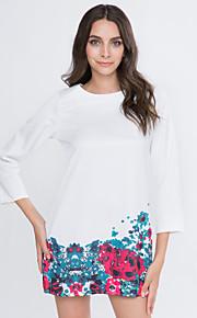 Damen Kleid-Etuikleid Retro Blumen Knielang Baumwolle / Andere Rundhalsausschnitt