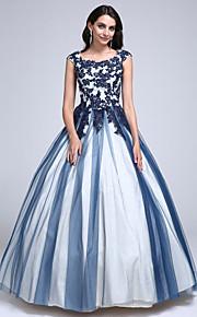 2017 ts couture® promenade dell'abito di sfera vestito paletta pavimento-lunghezza pizzo / tulle con applicazioni / bordatura