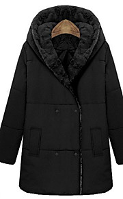Women's Solid Black / Gray Padded Coat,Sexy Shirt Collar Long Sleeve