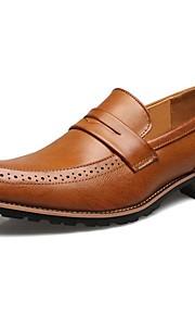 Черный / Желтый / Красный-Мужской-Свадьба / На каждый день / Для вечеринки / ужина-Кожа-На низком каблуке-Удобная обувь-Туфли на шнуровке