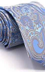 Men's Light Blue Paisley Tie 100% Silk Business Dress Casual Long