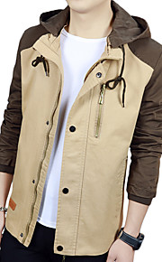 남성의 자켓 컬러 블럭 긴 소매 캐쥬얼 / 작업/오피스 / 정장 폴리에스테르 / 스판덱스,블루 / 브라운 / 레드