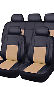 11Pcs PU Leather Black With Beige Auto Car-Covers Full Synthetic Set Seat Covers
