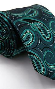 Men's Paisley Green Tie 100% Silk Business Dress Casual Long