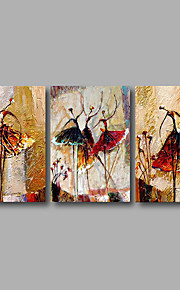 Dipinta a mano Astratto Dipinti ad olio,Modern Tre Pannelli Tela Hang-Dipinto ad olio For Decorazioni per la casa