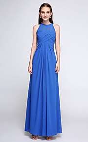 Lanting Bride Ankle-length Chiffon Bridesmaid Dress - Elegant Sheath / Column Jewel with Criss Cross
