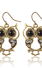 New Fashion Trendy Black Eyes Owl Earrings Hollow Animal Earrings For Women Jewelry Pendientes Mujer Wholesale