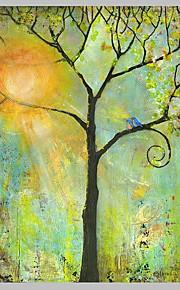 Pintada a mano Abstracto / Paisaje Pinturas de óleo,Modern / Pastoral Un Panel Lienzos Pintura al óleo pintada a colgar For Decoración
