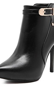 Women's Boots Fall / Winter Bootie / Pointed Toe PU Office & Career / Casual Stiletto Heel Buckle Black Others