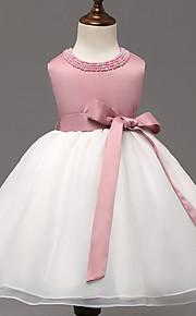 Robe de Soirée Mi-long Robe de Demoiselle d'Honneur Fille - Organza / Polyester Sans Manches Bijoux avec Billes / Noeud(s)