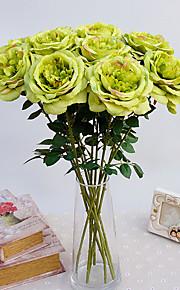 1pc 1 ענף פוליאסטר / פלסטיק ורדים פרחים לשולחן פרחים מלאכותיים 20.4inch/52CM