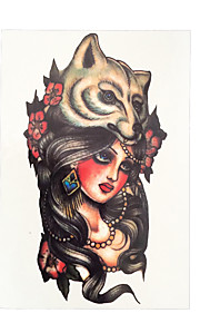 1pc Wolf Girl Long Hair Flower Arm Sleeve Waterproof Tattoo Women Men Body Art Temporary Tattoo Sticker HB-019
