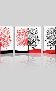 JAMMORY Canvas Set Landscape ,Three Panels Gallery Wrapped, Ready To Hang Vertical Print No Frame Black Red Tree
