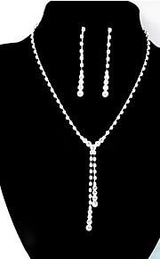 女性の結婚式の花嫁のクリアクリスタルのラインストーンドロップネックレスのイヤリングの宝石セットのギフト
