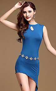 Belly Dance Dresses Women's Training Modal Split Front 1 Piece Black / Blue / Light Gray Sleeveless Natural Free Shorts