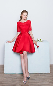 Knee-length Lace / Satin Bridesmaid Dress Ball Gown Jewel with Bow(s) / Lace
