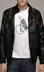 남성의 자켓 퓨어 긴 소매 캐쥬얼 염소가죽,블랙 / 브라운