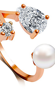 Alliances Mode Mariage Bijoux Alliage / Imitation de perle / Acrylique Femme Anneaux 1pc,6 / 7 / 8 / 9 Doré / Argent / Or Rose