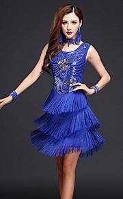 Latin Dance Dresses Women's Performance Chinlon / Milk Fiber Paisley Sequins / Tassel(s) 4 Pieces Outfits Dance Costumes