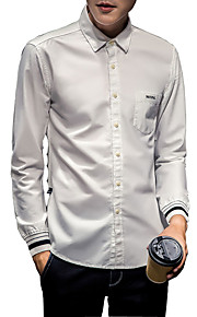 Camisa De los hombres Un Color Casual-Algodón-Manga Larga-Negro / Blanco