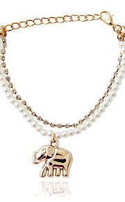 ブレスレット チェーン&リンクブレスレット 合金 / 人造真珠 アニマル ファッション ジュエリー ギフト ゴールデン / ホワイト,1個
